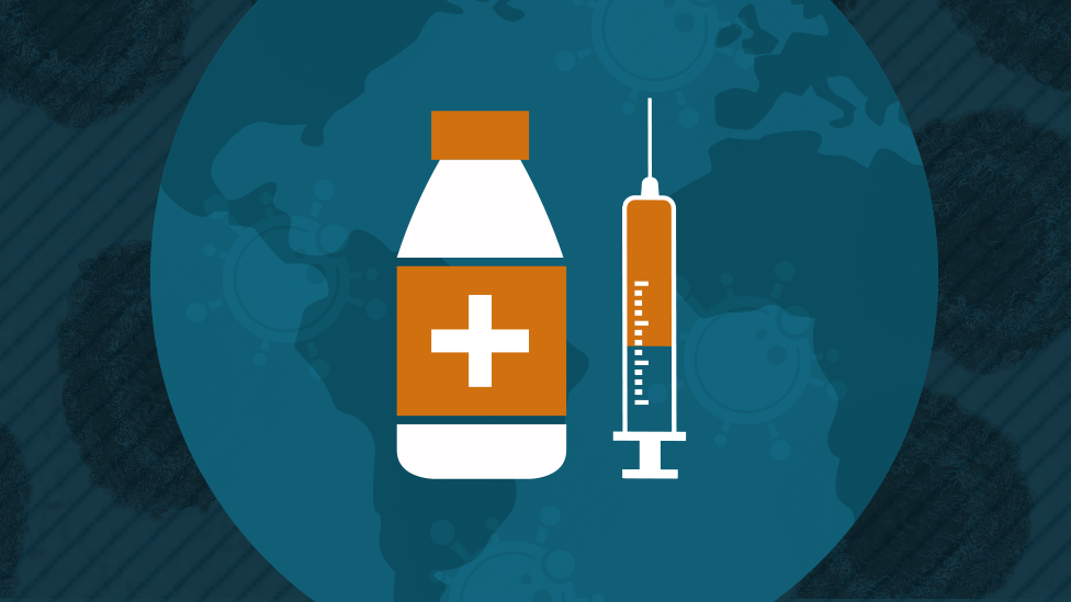 An illustration of a needle and a vaccine dose
