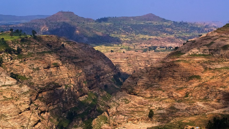 Mountain canyon landscape, with rock formations and valley, in Tigray in northern Ethiopia