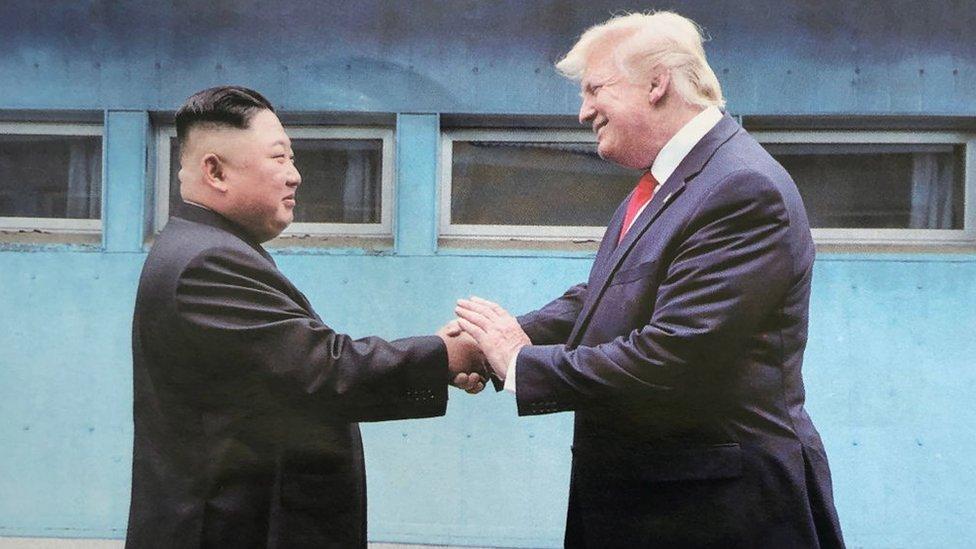 Kim Jong Un and Donald Trump shake hands on 30 June 2019