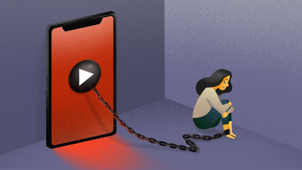 Illustration of revenge porn victims being shackled to phone.