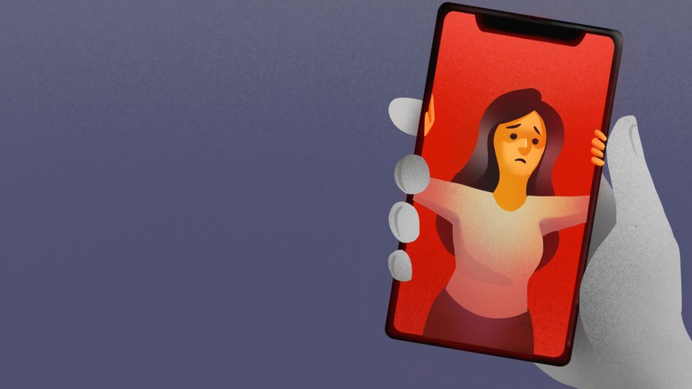 Illustration of revenge porn victim looking trapped inside the screen of mobile phone.
