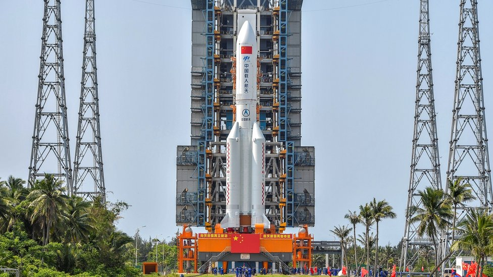 The Long March-5B Y2 rocket, carrying the core module of China
