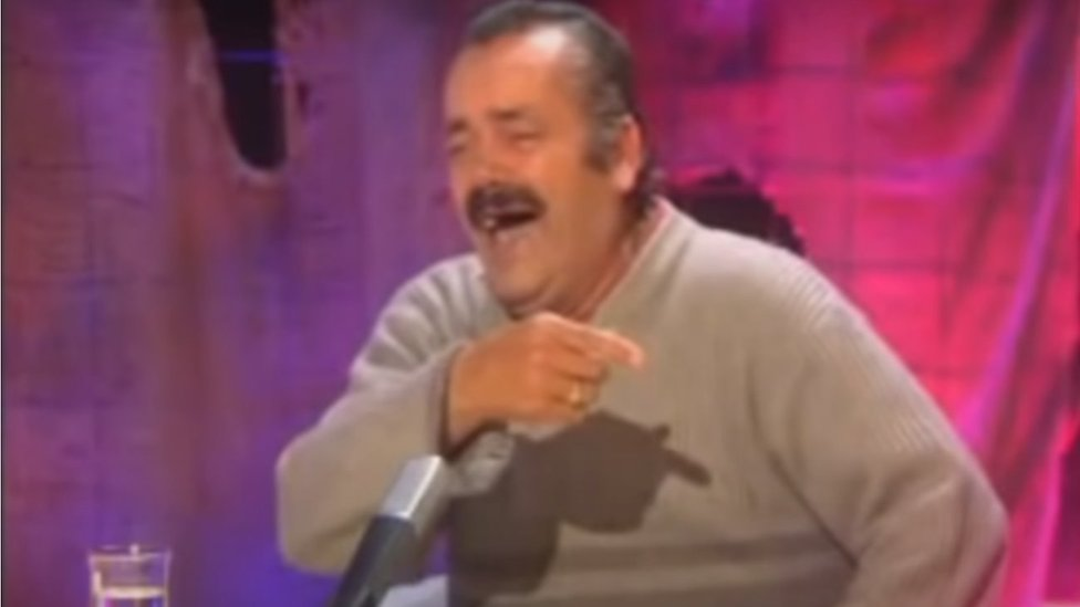 Screenshot showing Juan Joya Borja laughing uncontrollably