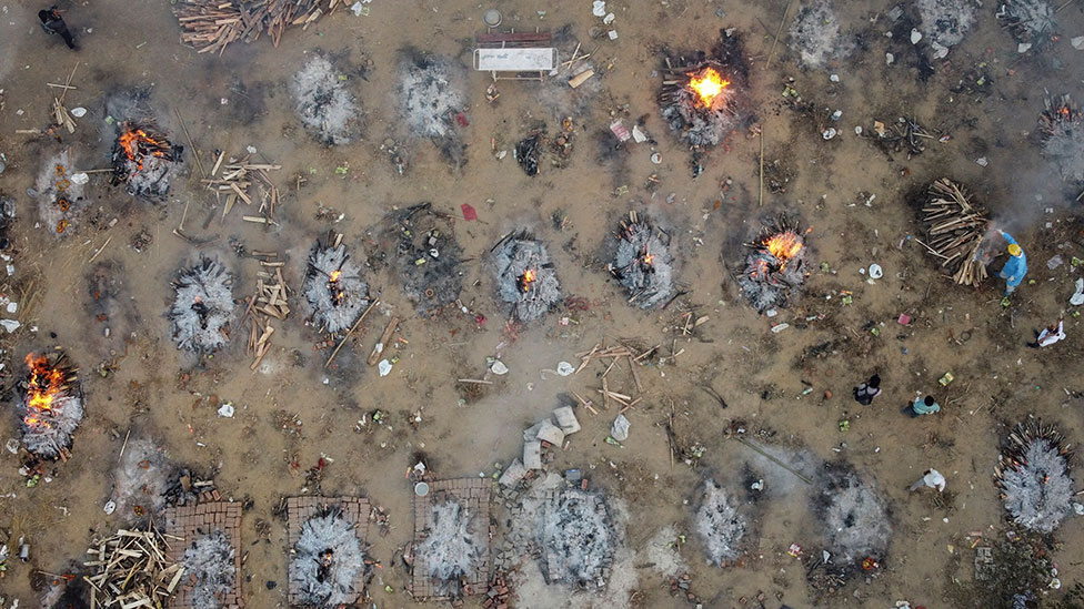 Funeral pyres in Delhi, India