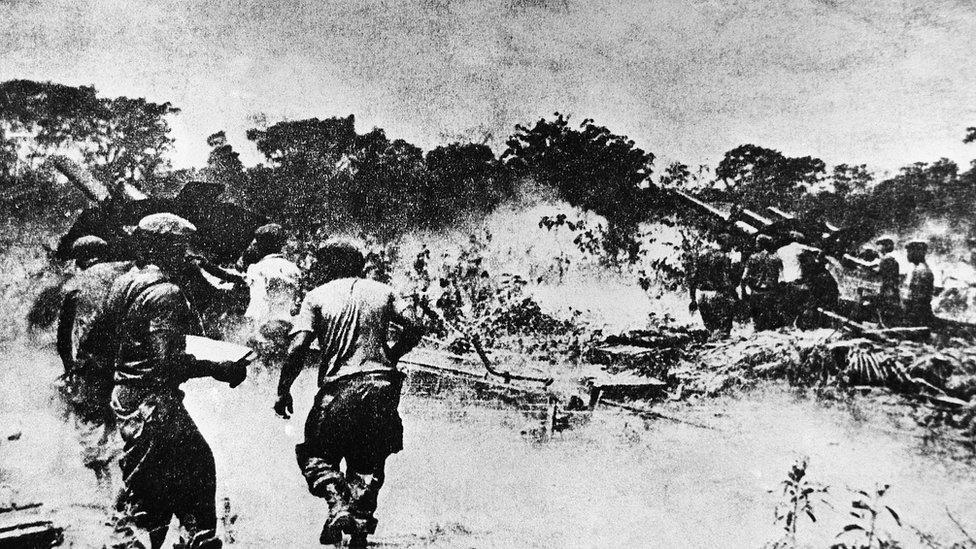 Castro's soldiers at Playa de Giron, Cuba