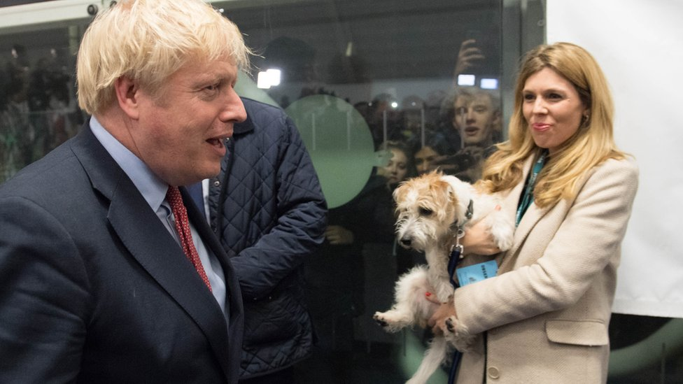 Boris Johnson and Carrie Symonds with their rescue dog