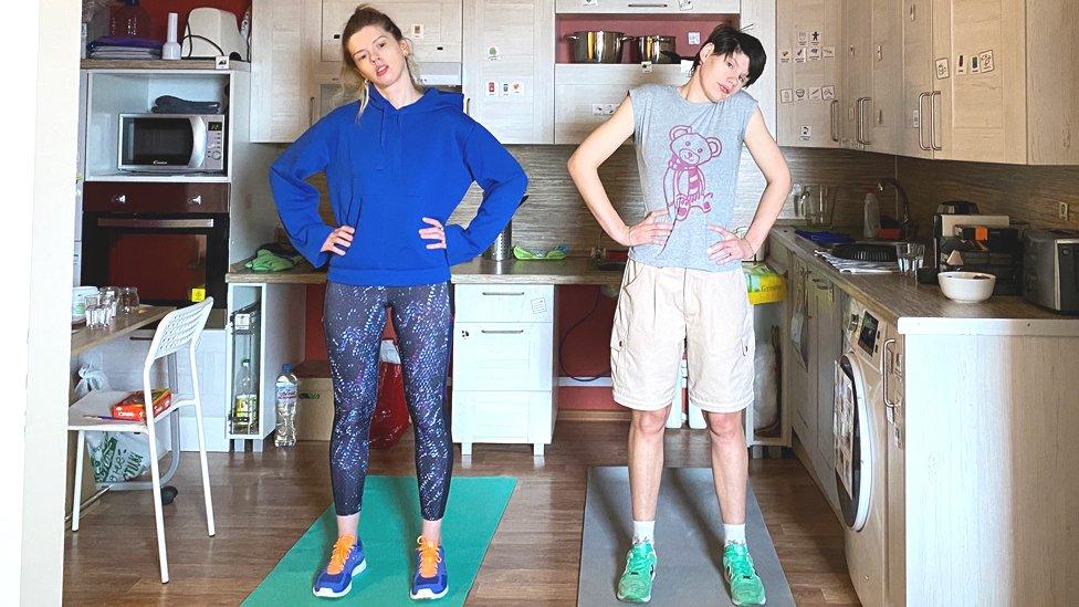 Arina and Nina exercising