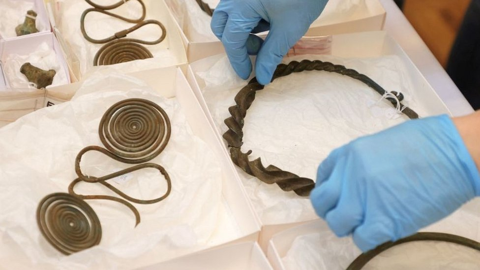 Bronze Age treasure from forest find, now in Gothenburg, 29 Apr 21