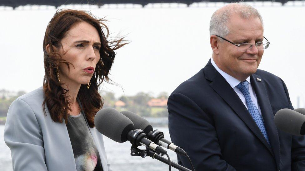 نیوزی لینڈ کی وزیر اعظم جسینڈا آرڈرن اور آسٹریلیائی وزیر اعظم سکاٹ ماریسن