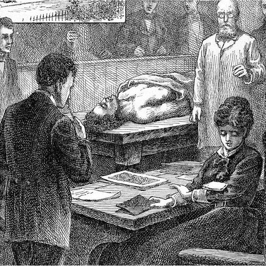 1847 کے بنائے گئے ایک خاکہ میں بلیک ویل اپنے ایک ساتھی طالب علم کا ایک نوٹ پڑھتے ہوئے