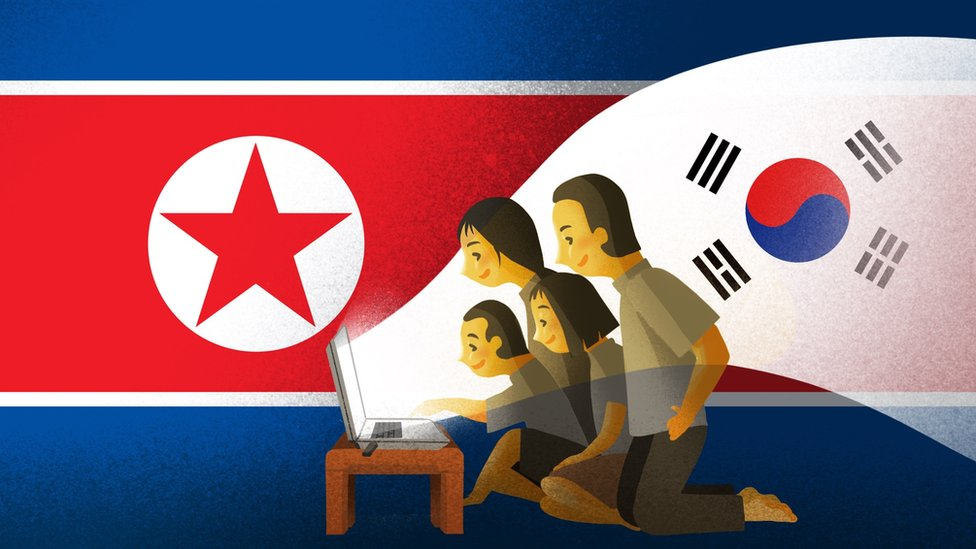 Illustration of family watching South Korean TV