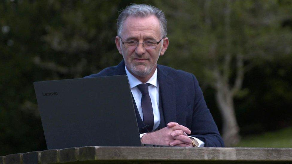 Tony Marini speaking with Jake on the laptop