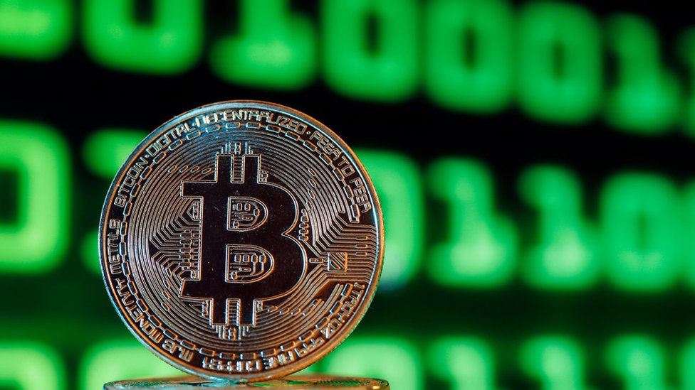 In this photo illustration, a visual representation of the digital Cryptocurrency, Bitcoin is displayed