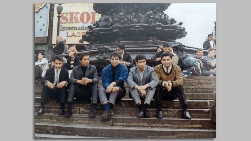 Praful, second left, with YMCA friends at Piccadilly Circus in 1965