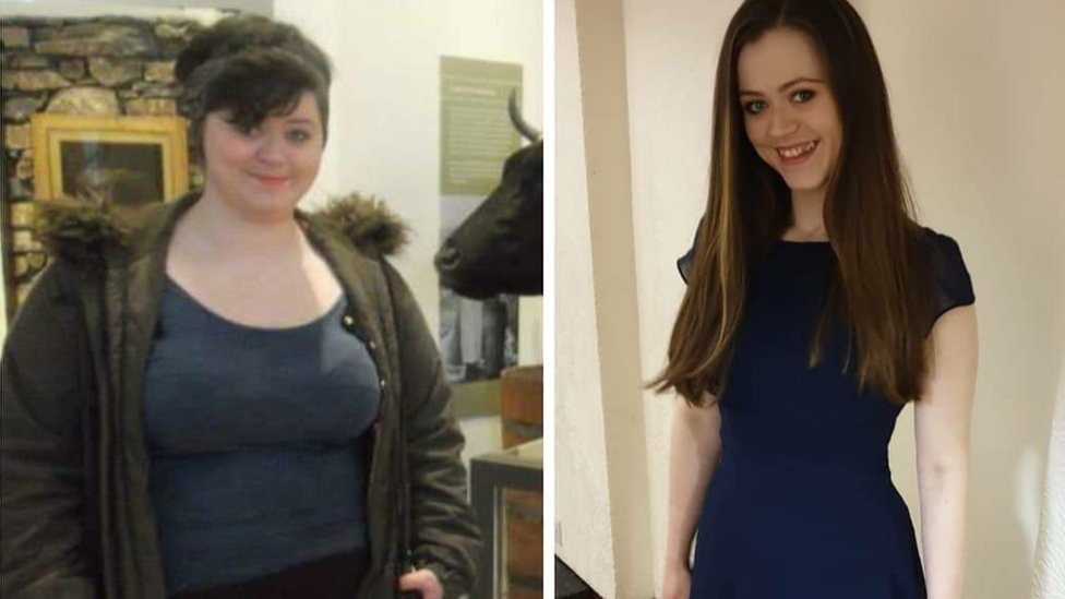 Split screen picture showing Eimi before and after her weight loss