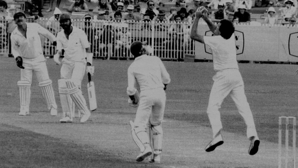 Zaheer Abbas out caught & bowled Yardley for 90. December 12, 1981.