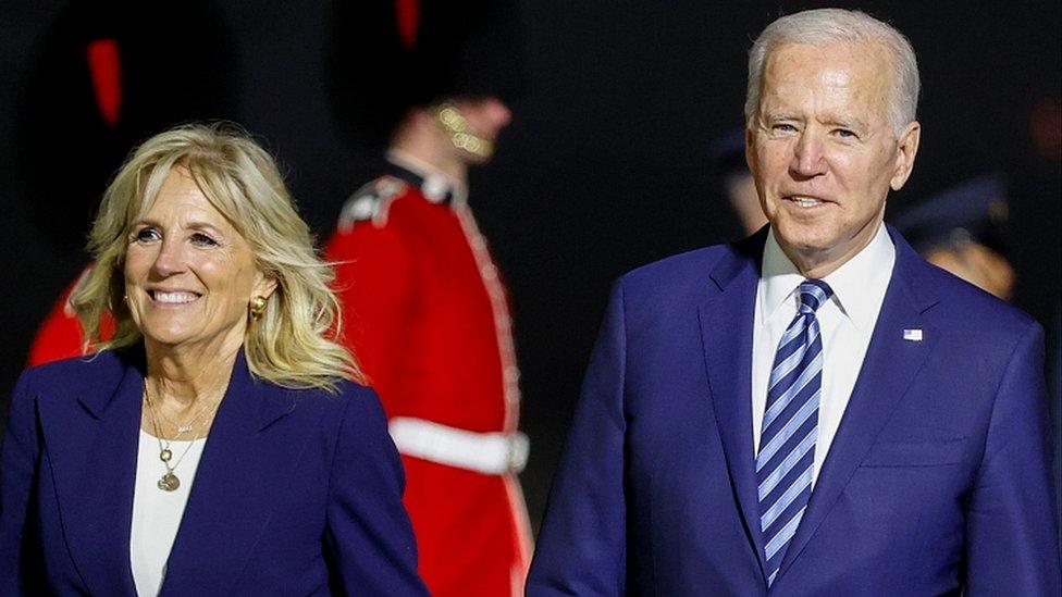 President Joe Biden and first lady Jill Biden arrive at Newquay, Cornwall, June 9, 2021