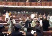 قومی اسمبلی میں ہنگامہ آرائی، سات ارکان کے اسمبلی میں داخلے پر پابندی
