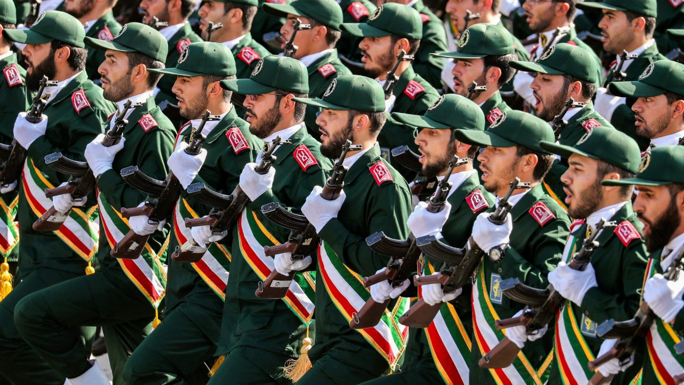 Members of Iran's Islamic Revolution Guards Corps at a parade. File photo