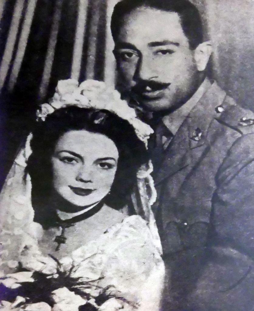 Marriage of Jehan and Anwar Sadat in 1949.