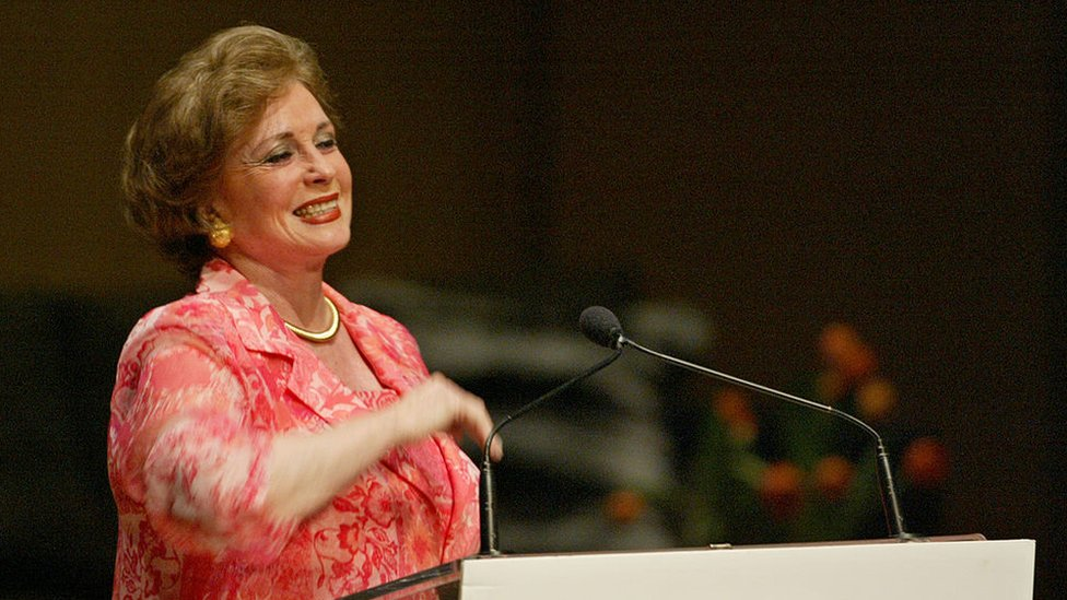 Jehan Sadat widow of Anwar Sadat speaking to the Unique Lives and Experiences at Roy Thomson Hall on 28 April 2003