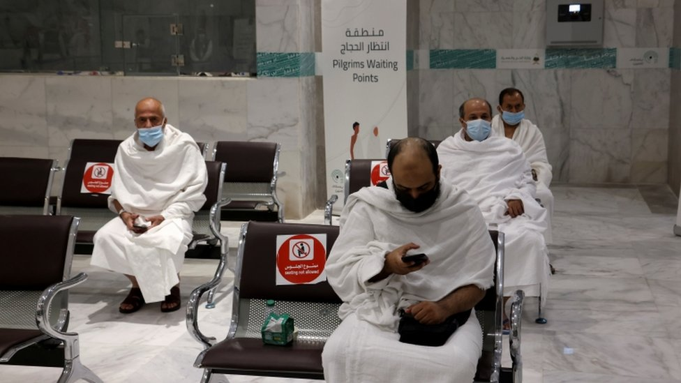 Muslims arrive at Al-Zaidi station to be taken to the Grand Mosque, ahead of the annual Haj pilgrimage, in the holy city of Mecca, Saudi Arabia