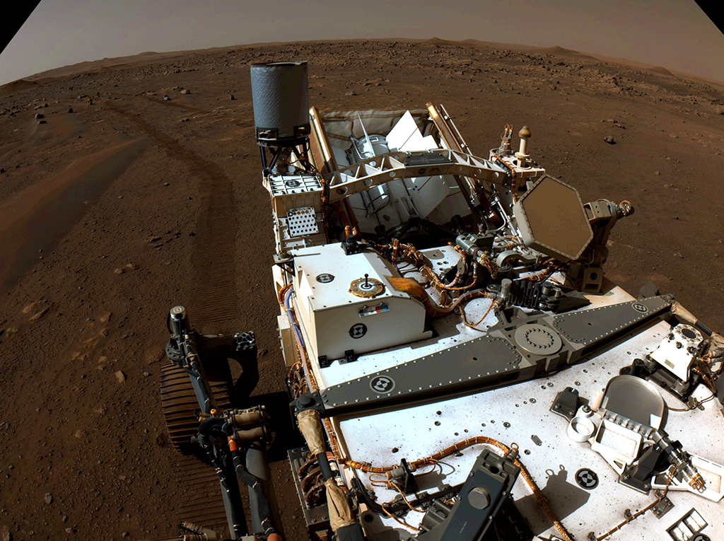 Nasa's Perseverance Mars rover looks back toward its tracks on July 1