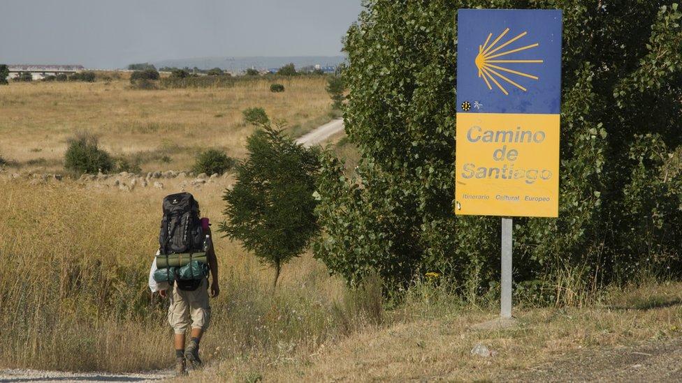Peregrino haciendo el Camino de Santiago