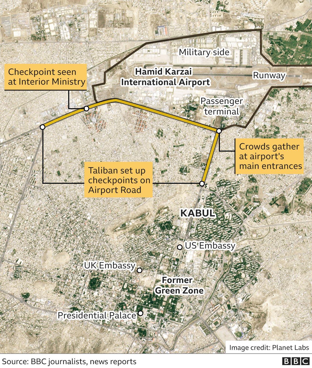 بی بی سی کا بنایا ہوا نقشہ کابل ایئرپورٹ کے ارد گرد کی صورتحال کی عکاسی کرتا ہے