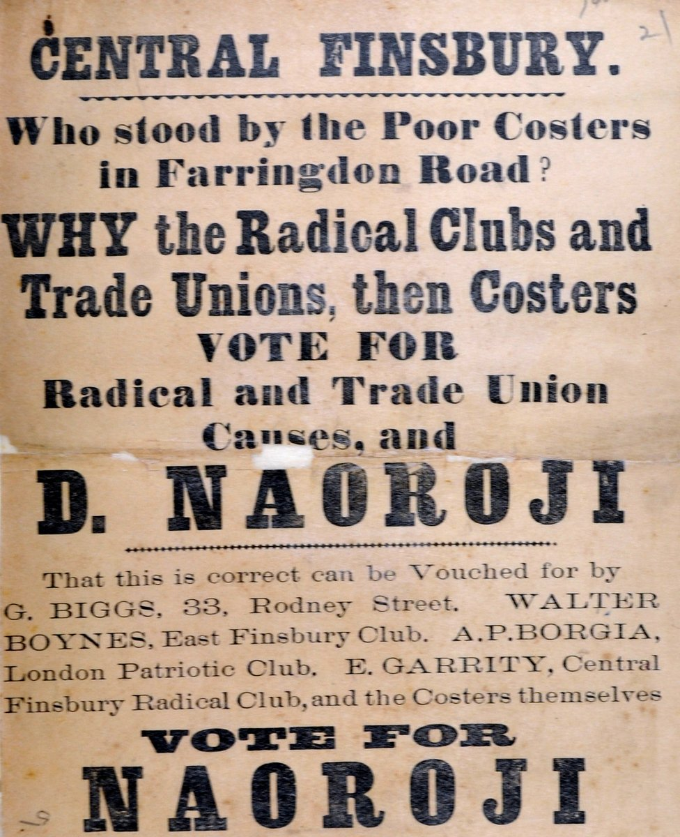 Central Finsbury flier states Naoroji's support for trade unions and
