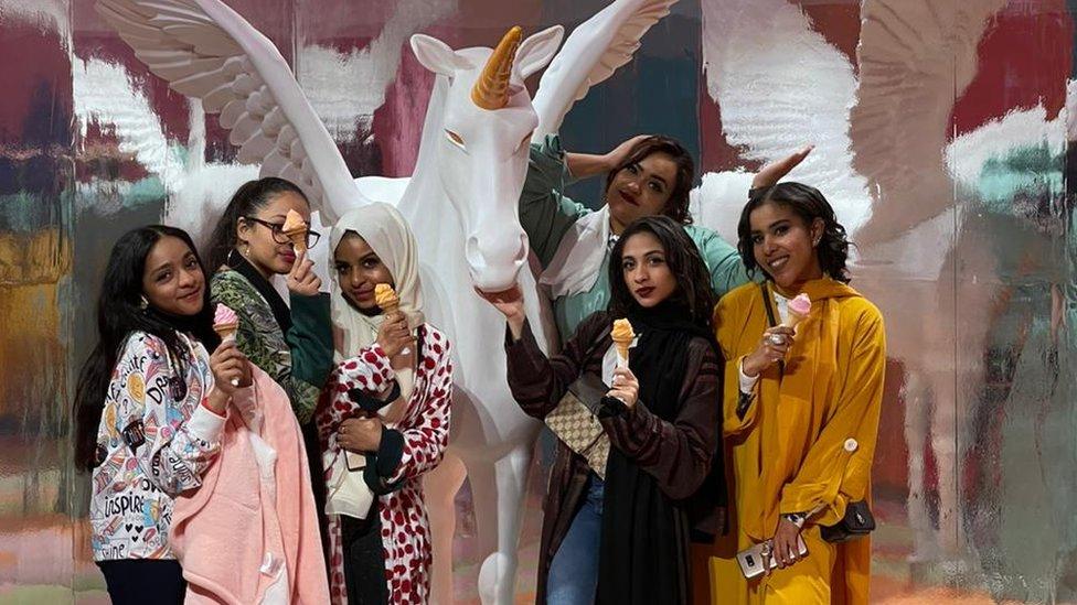 Hannan Abubakar with her friends