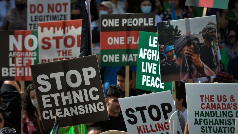 Afghan Diaspora in Canada holding a protest