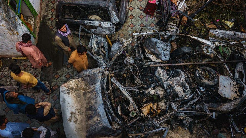 امریکی میزائل حملے میں تباہ ہونے والی کار کی فضائی تصویر