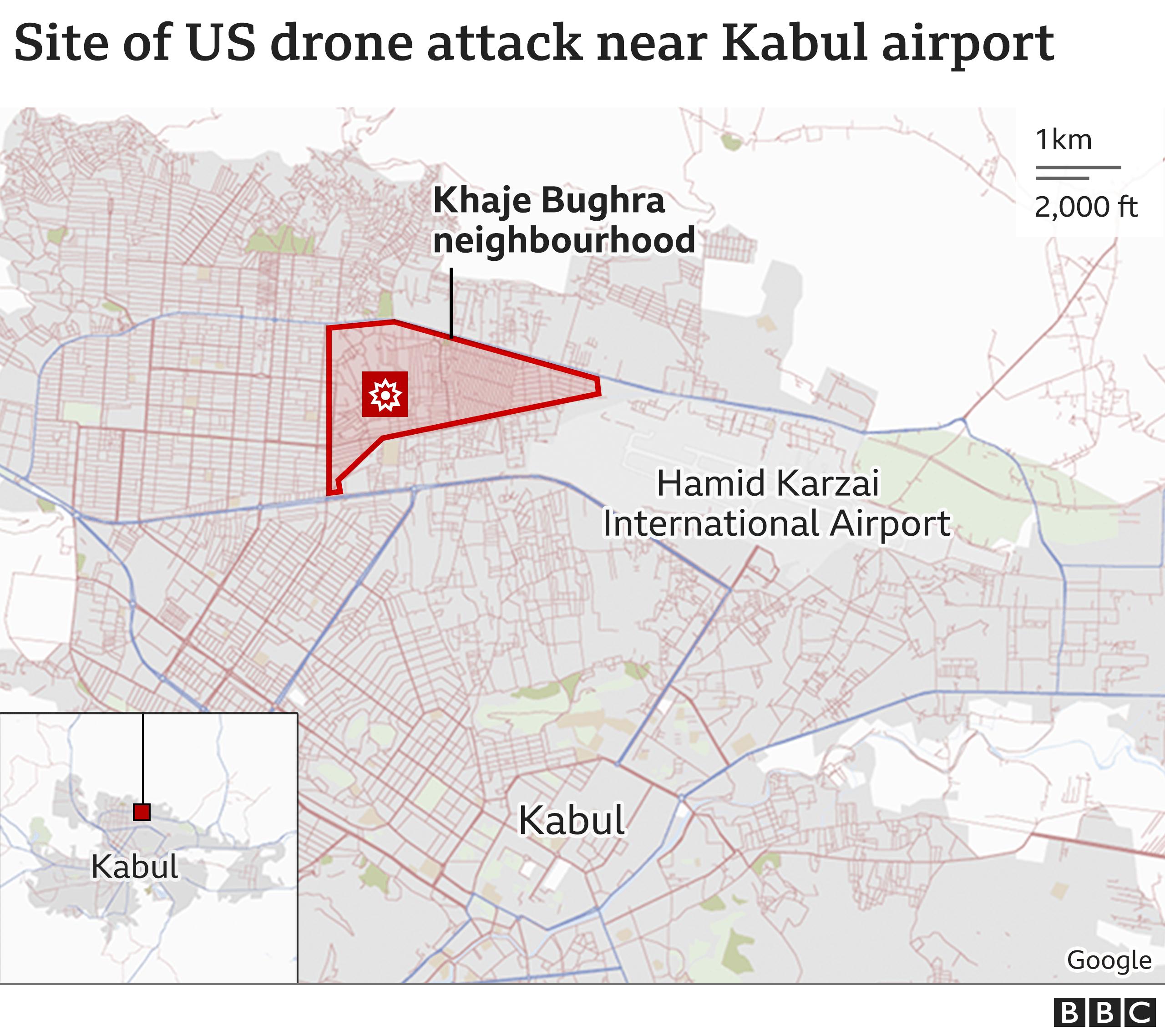 کابل ایئرپورٹ کے قریب جہاں امریکہ نے ڈرون حملہ کیا