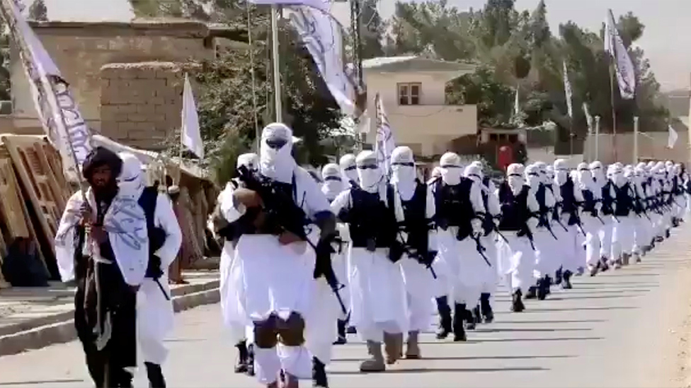 Taliban forces parade in Qalat, Zabul province, image taken from social media video, 19 August 2021