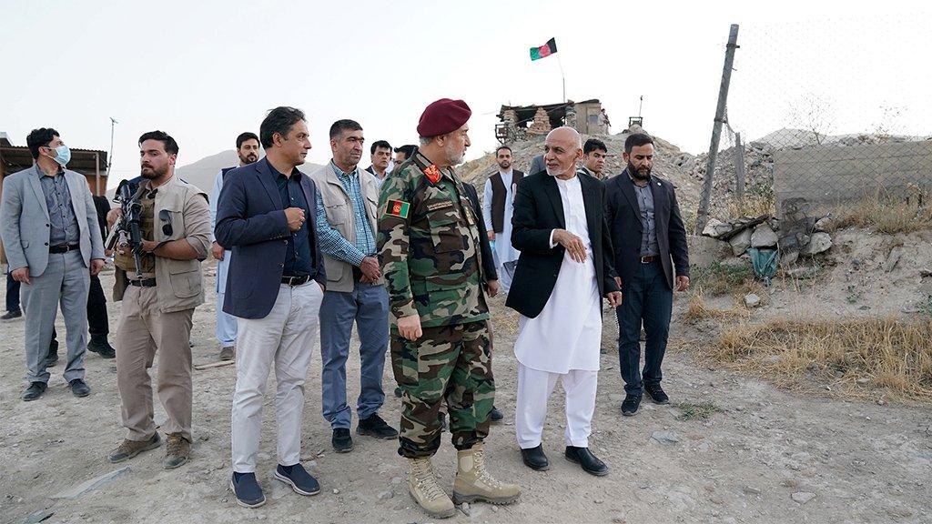 Ashraf Ghani and acting defence minister Bismillah Khan Mohammadi visit military corps in Kabul, 14 August 2021