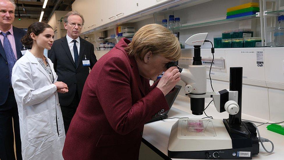German Chancellor Angela Merkel looks through a microscope
