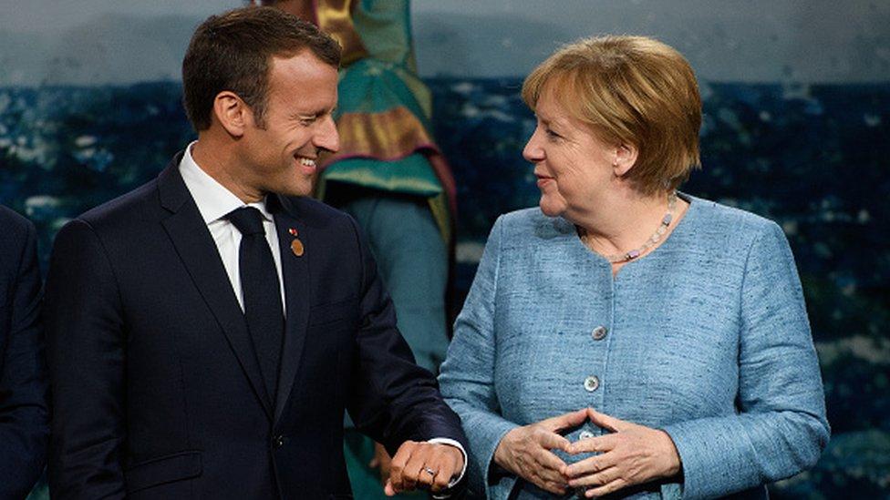 France's President Emmanuel Macron and Germany's Chancellor Angela Merkel