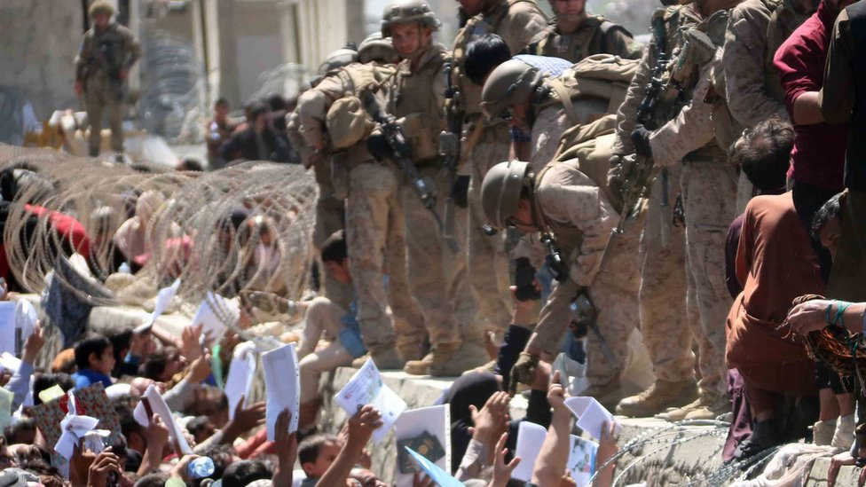 US soldiers at Kabul airport, 26 August