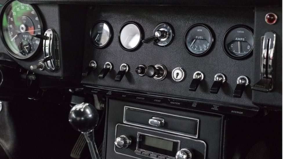Dashboard of an Electrogenic converted e-type Jaguar