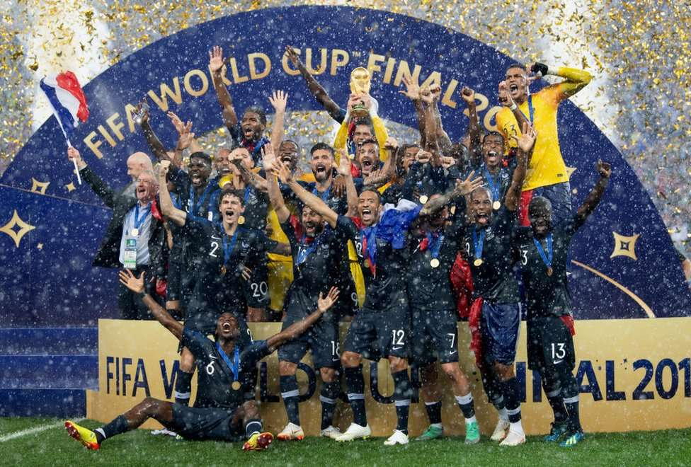 French players celebrating winning the 2018 World Cup