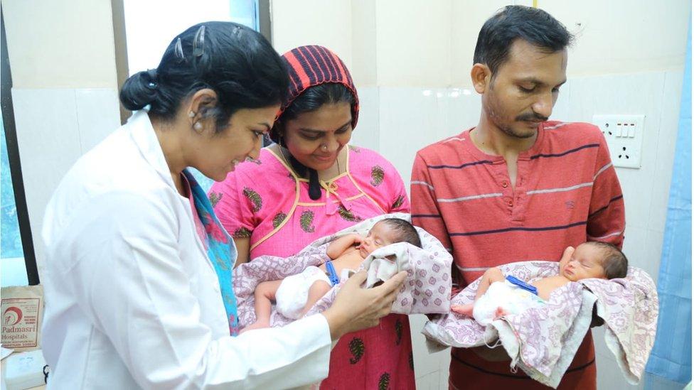 Doctor Padmasri along with Bhagyalakshmi and Appala Raju with new born twins.