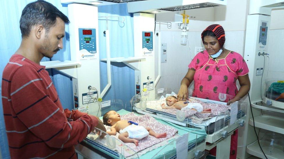 Bhagyalakshmi and Appala Raju along with their new born twins.