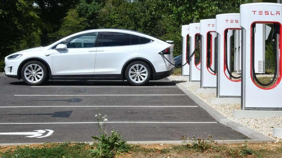 A Tesla charging